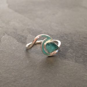 SeaSurfRocks jewellery Cornwall Apatite Sterling silver wave ring. Surf jewellery. Handmade. Online exclusive!