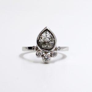 salt and pepper diamond engagment ring