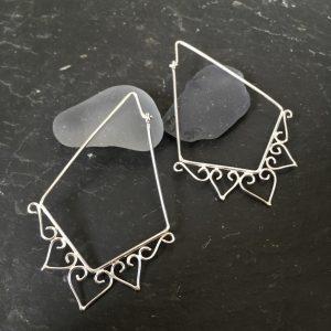 SeaSurfRocks ocean inspired sterling silver jewellery handmade in Cornwall earrings