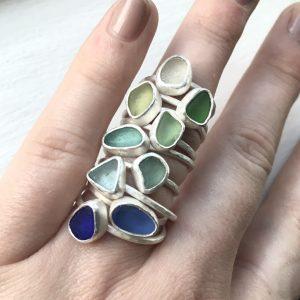 SeaSurfRocks ocean inspired sterling silver jewellery handmade in Cornwall sea glass